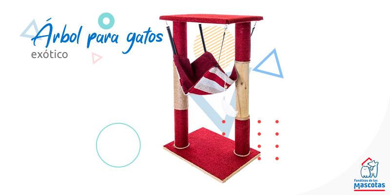 árbol para gatos rojo con camita y juguete. Enlaza a la sección de rascadores y árboles para gatos de Sodimac.com