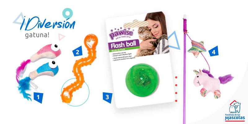 gusanito de goma, varita, pelota luminosa y pececitos de juguete para gato