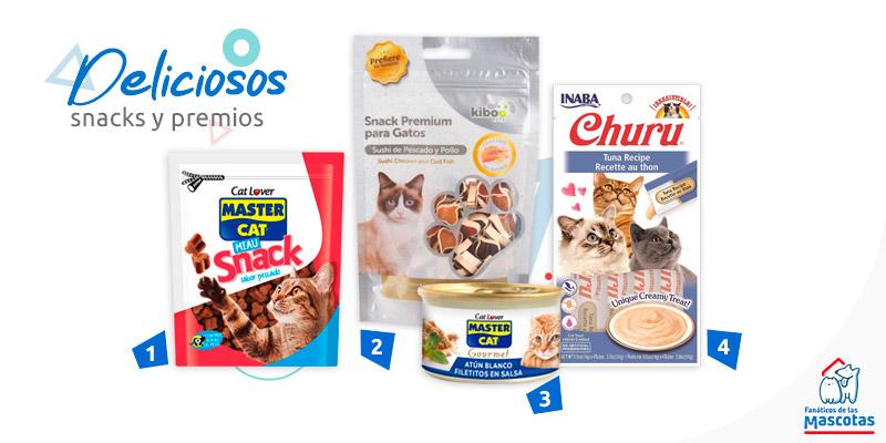 distintos tipos de snacks y Churu para gatos